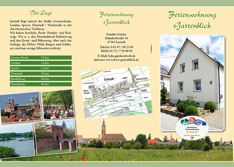 Fotoarbeiten, Flyer-Design, Druck für die Ferienwohnung Gartenblick in Lustadt