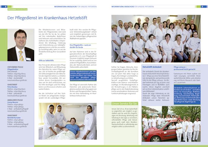 Druck und Seitengestaltung der Patientenbroschüre des Hetzelstift in Neustadt