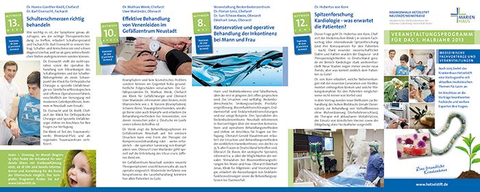 Flyer, Druck und Versand des Veranstaltungsprogrammes für das Hetzelstift in Neustadt