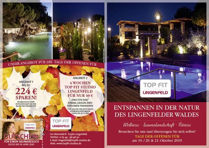 Grafik-Design, Fotoarbeiten, Druck und Versand für die Topfit Studios in Reilingen, Hockenheim, Wiesenthal und Lingenfeld
